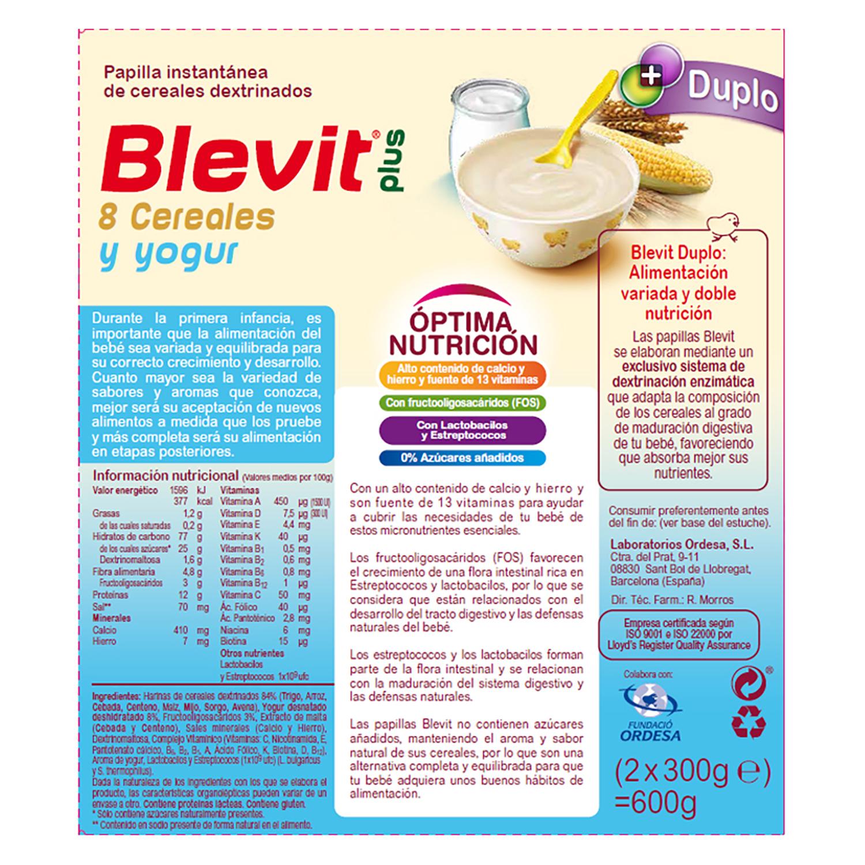 Papilla de 8 cereales y yogur Blevit plus Duplo 600 g. -
