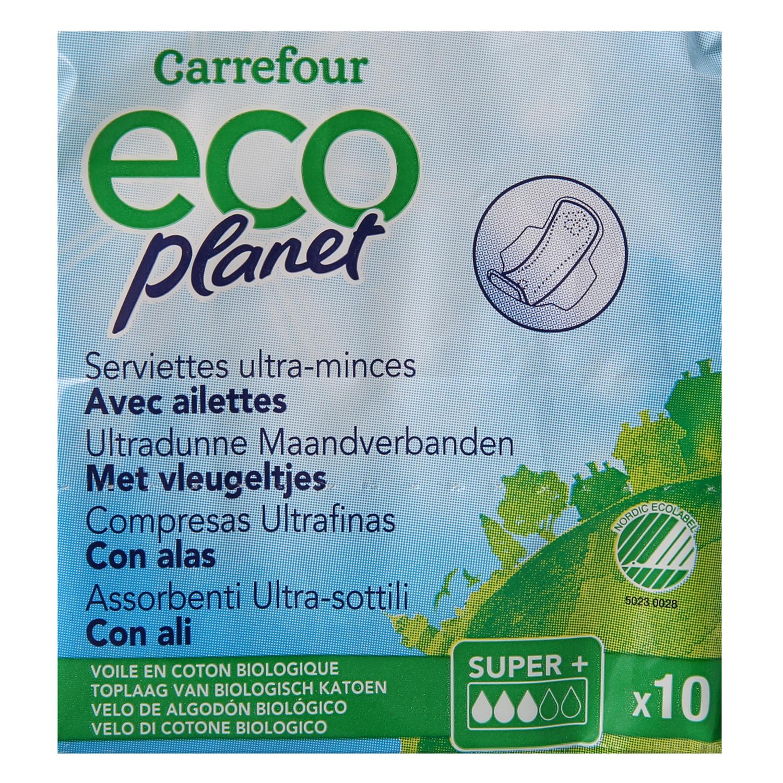 Compresas ultrafinas super con alas ecológicas Carrefour Eco Planet 10 ud. - 2