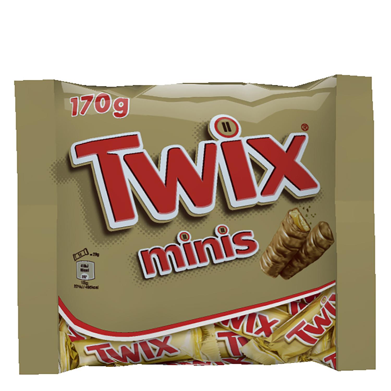 Barrita de chocolate y galleta rellena de caramelo mini Twix 200 g.