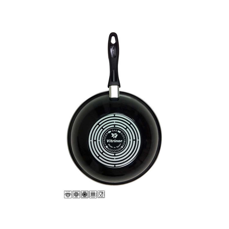 Wok Clásica de Acero Esmaltado MAGEFESA Zen Noir 28cm - Negro -