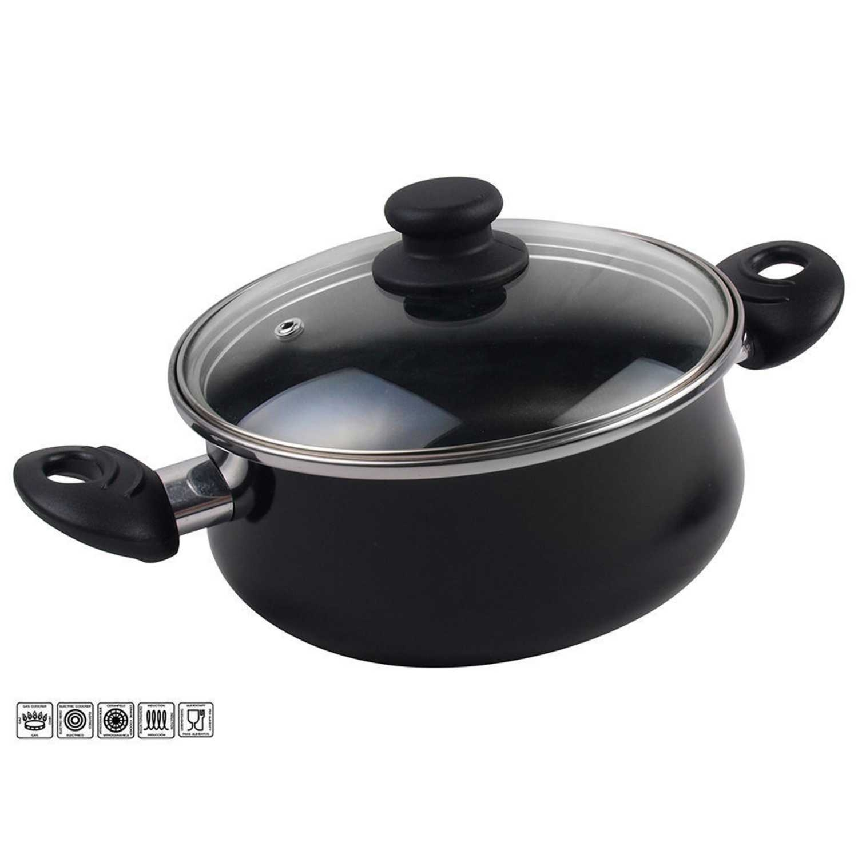 Cacerola Clásica de Acero Esmaltado Zen Noir 24cm  Negro