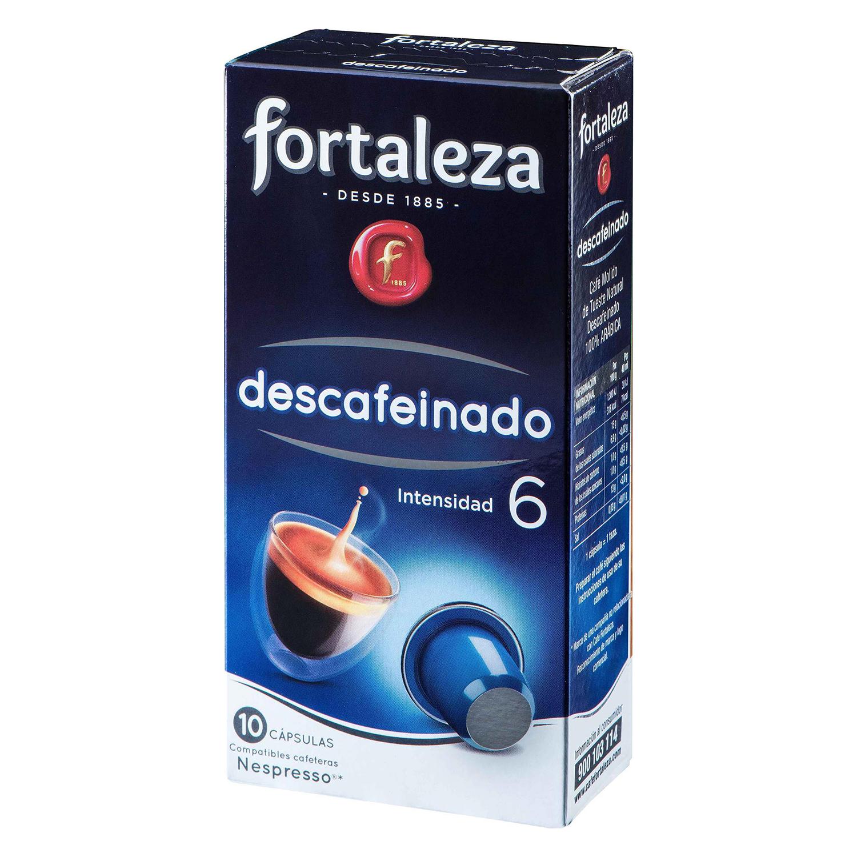 Café molido natural descafeinado en cápsulas Fortaleza compatible con Nespresso 10 unidades de 5 g.