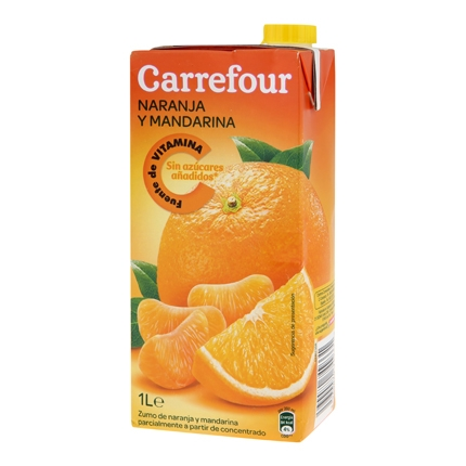 Zumo de naranja y mandarina Carrefour sin azúcar brik 1 l.