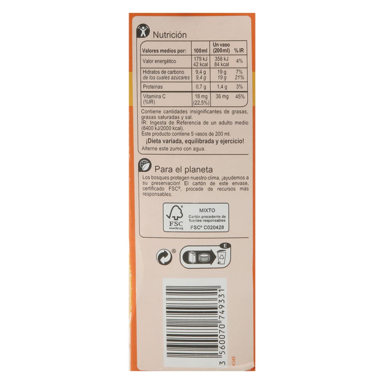 Zumo de naranja y mandarina Carrefour sin azúcar brik 1 l. - 2