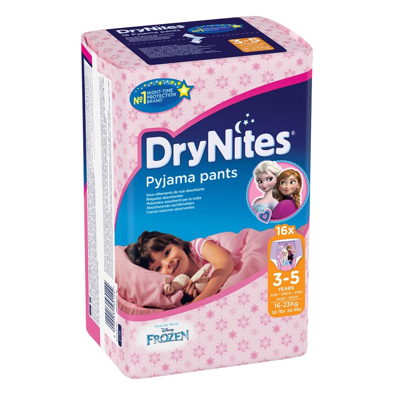 Braguitas absorbentes niña 3-5 años (16-23 kg.) DryNites 16 ud.