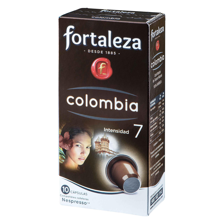 Café molido natural Colombia en cápsulas Fortaleza compatible con Nespresso 10 unidades de 5 g.