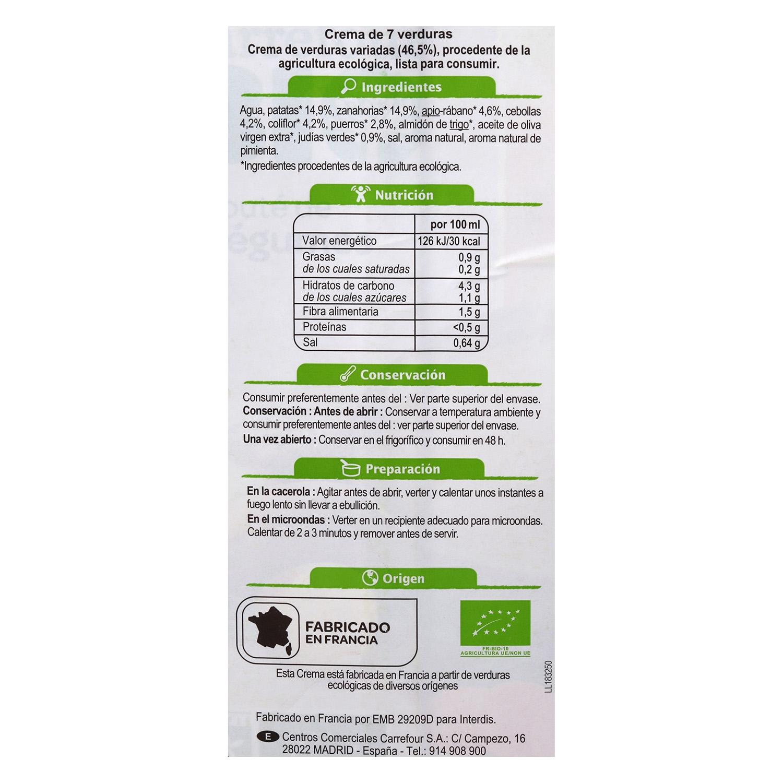 Crema 7 Verduras ecológico Carrefour Bio 1l. - 2