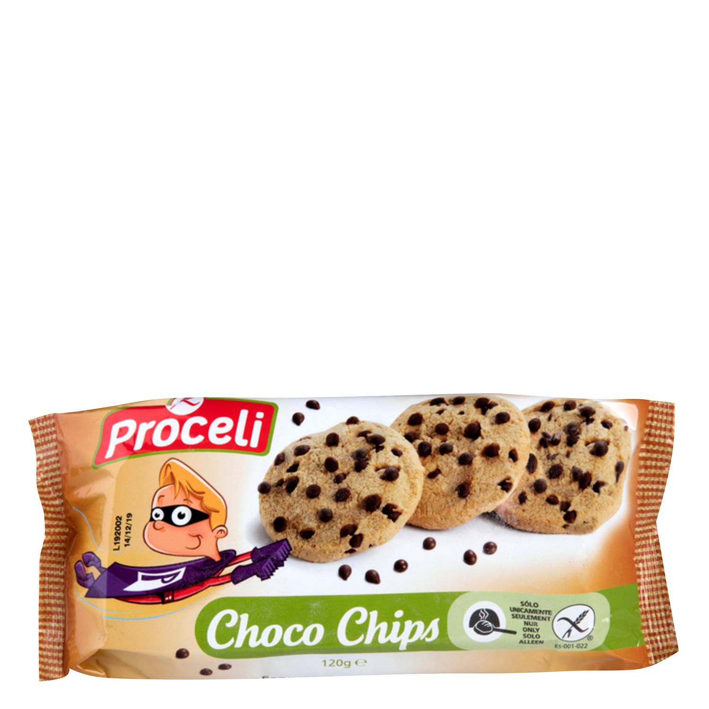 Galletas con pepitas de chocolate Proceli sin gluten 120 g.
