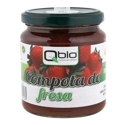 Compota de fresa ecológica Qbio sin gluten 320 g.