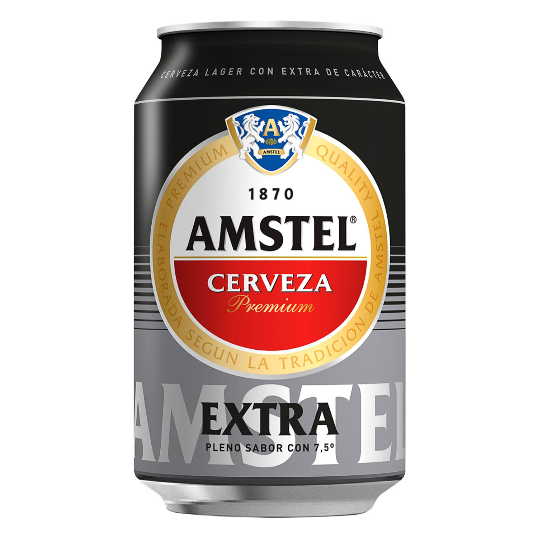 Cerveza Amstel Extra premium Lager lata 33 cl.