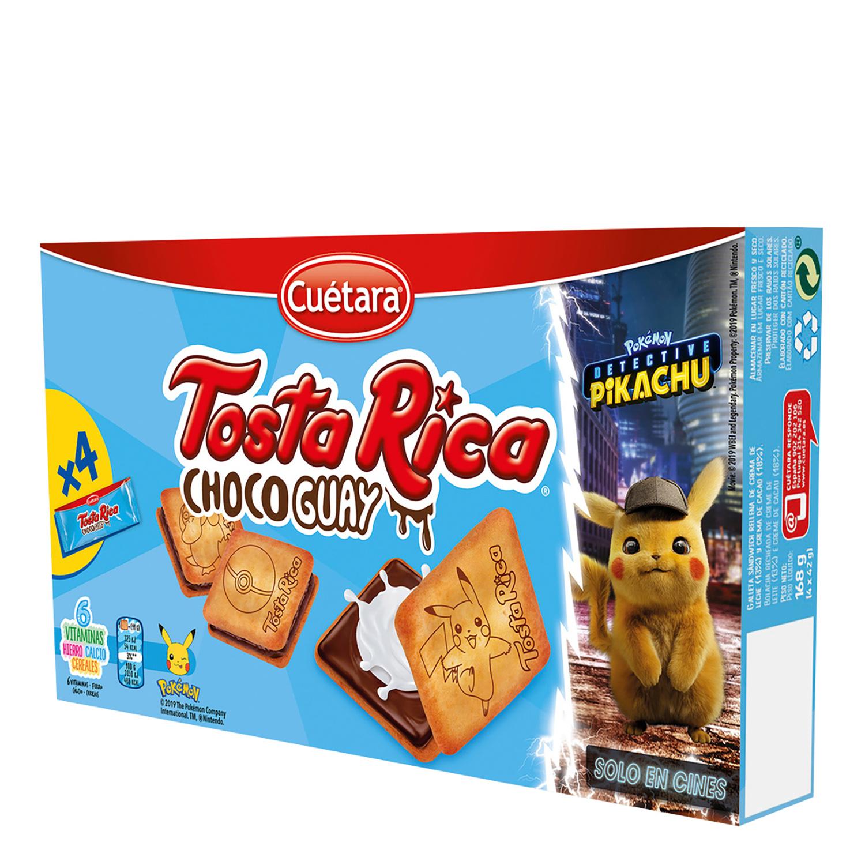 Galletas rellenas de crema de chocolate Tosta Rica Cuétara 168 g.