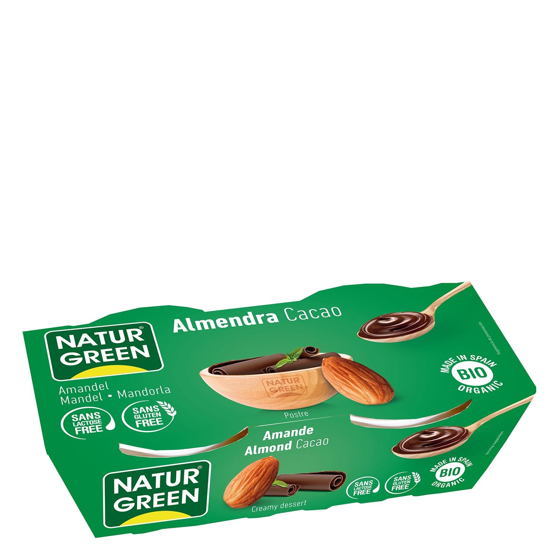 Postre de almendra y cacao ecológico Naturgreen sin gluten sin lactosa pack de 2 unidades de 125 g.