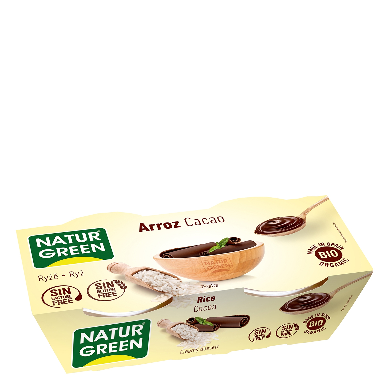 Postre de arroz y cacao ecológico Naturgreen sin gluten sin lactosa pack de 2 unidades de 125 g.