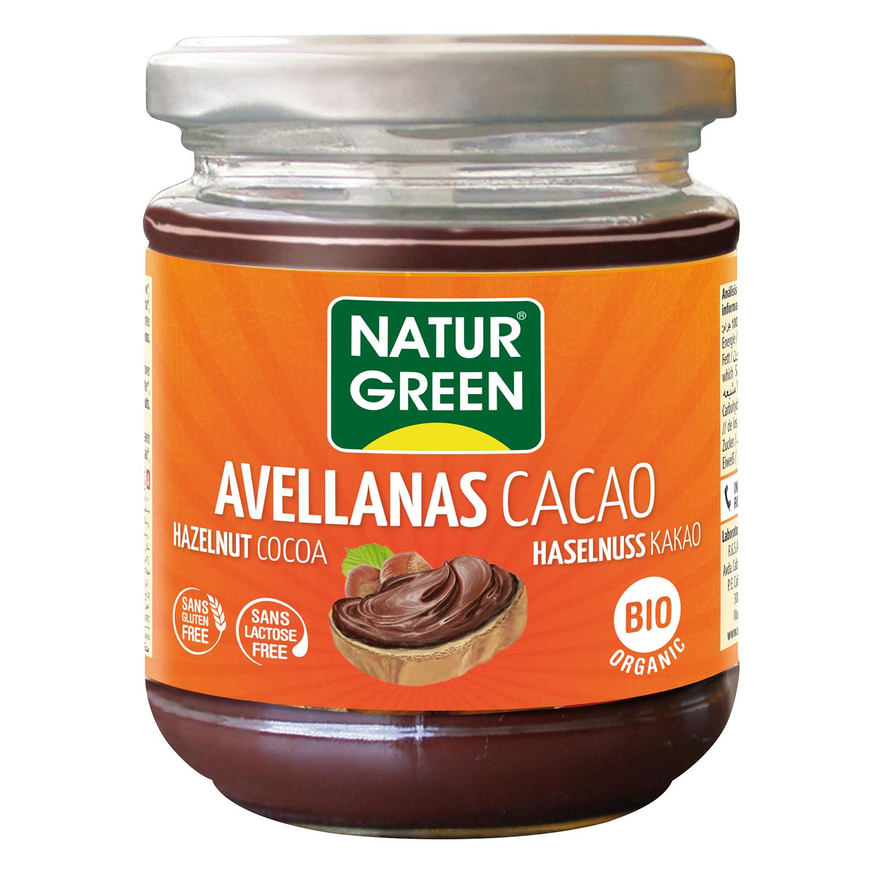 Crema de cacaco con avellanas ecológica Naturgreen  sin gluten sin lactosa 200 g.