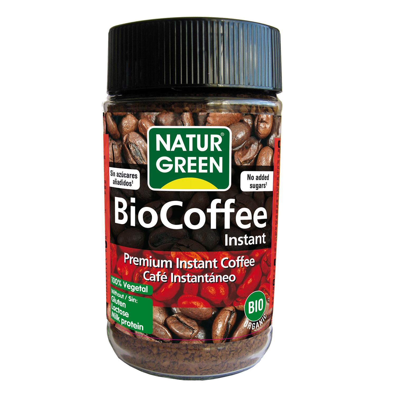Café soluble natural ecológico Naturgreen sin gluten y sin lactosa 100 g.