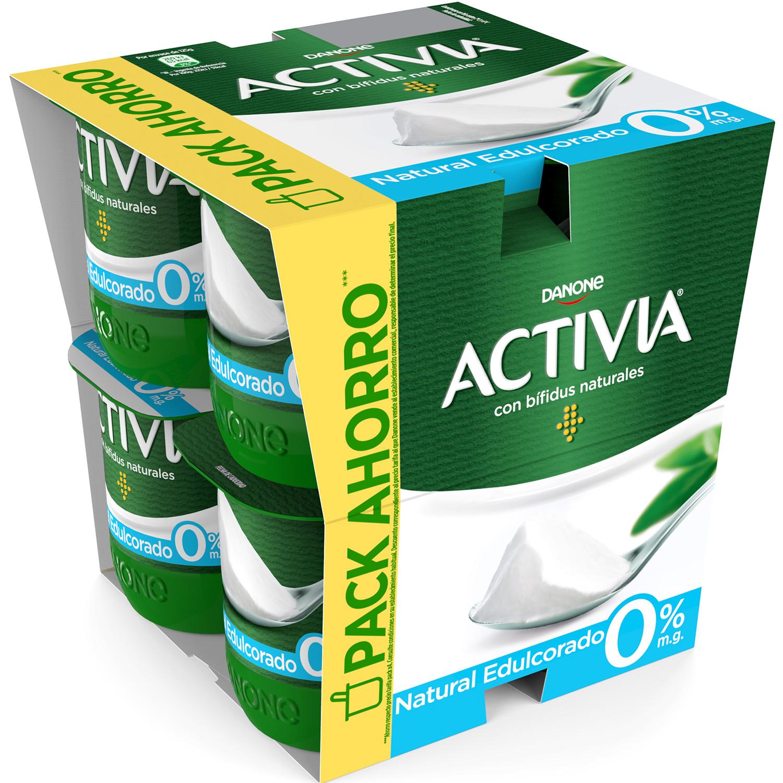 Yogur bífidus desnatado edulcorado natural Danone Activia pack de 8 unidades de 125 g.