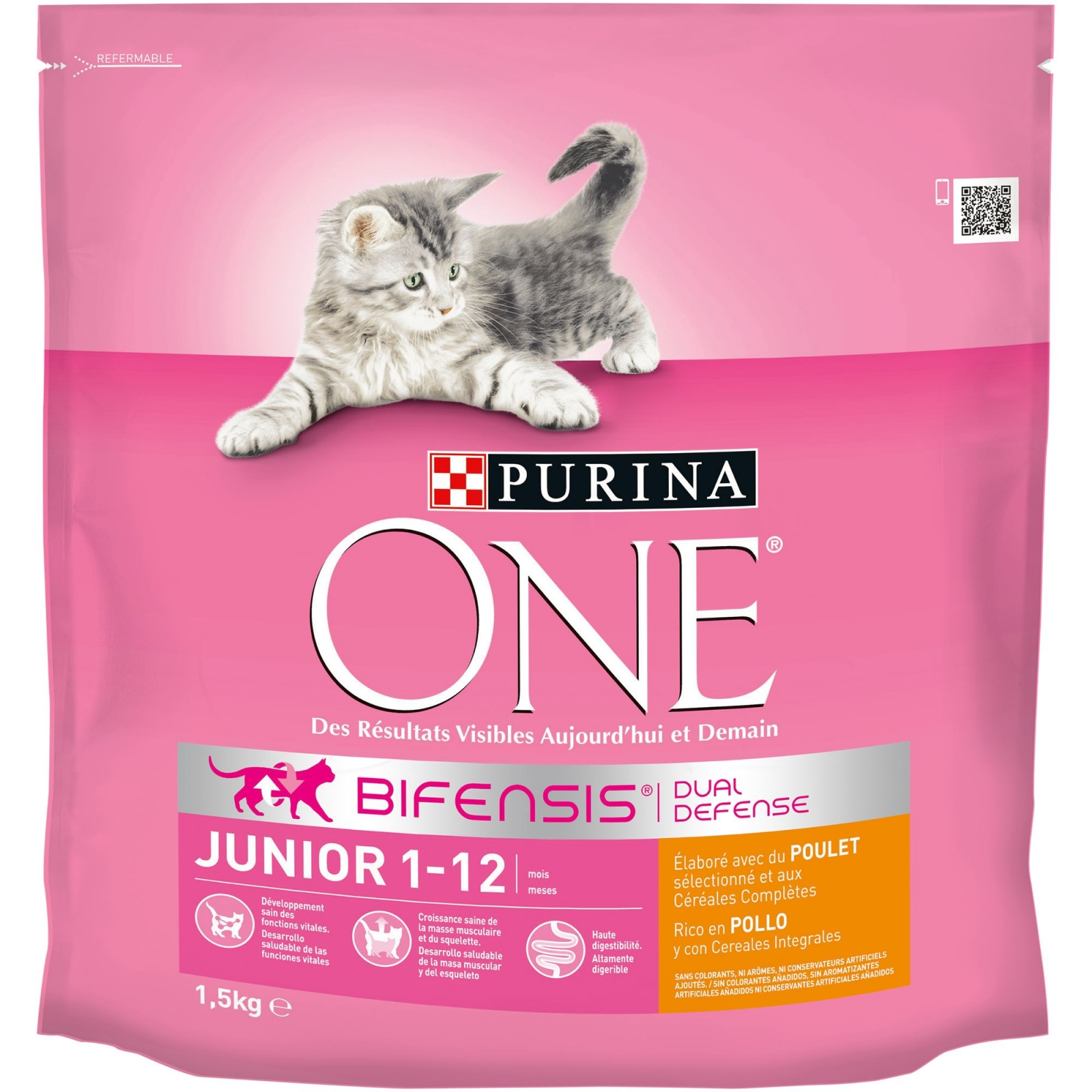 Purina ONE Bifensis Pienso para Gato Junior Pollo y Cereales 1,5Kg