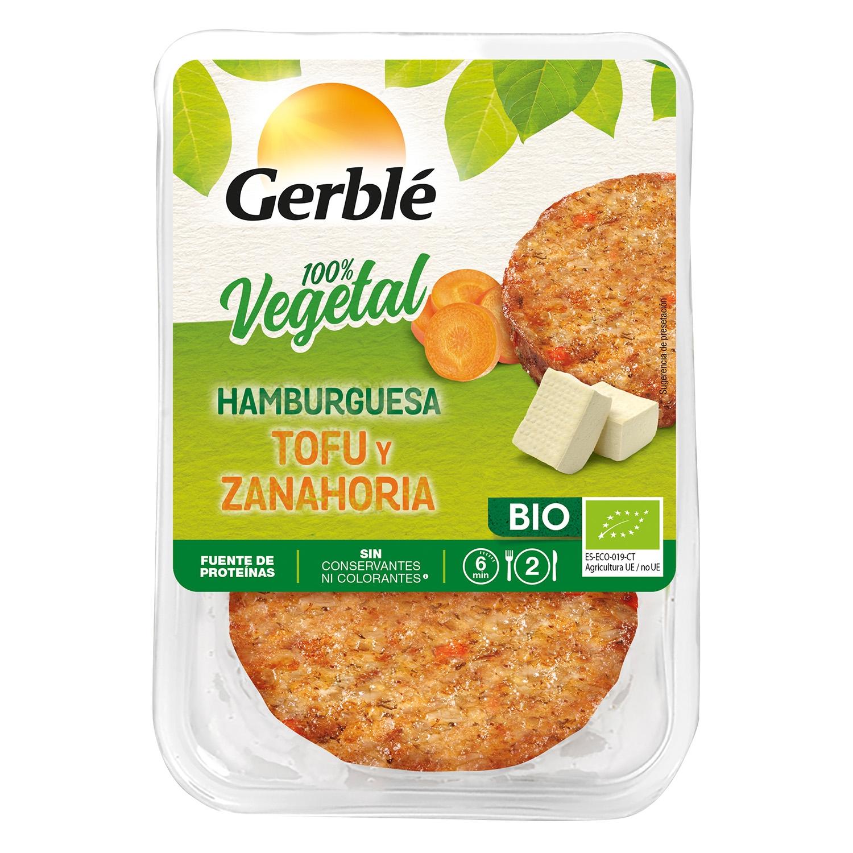Hamburguesa de tofu y zanahoria ecológica Gerblé Bio pack de 2 unidades de 80 g.
