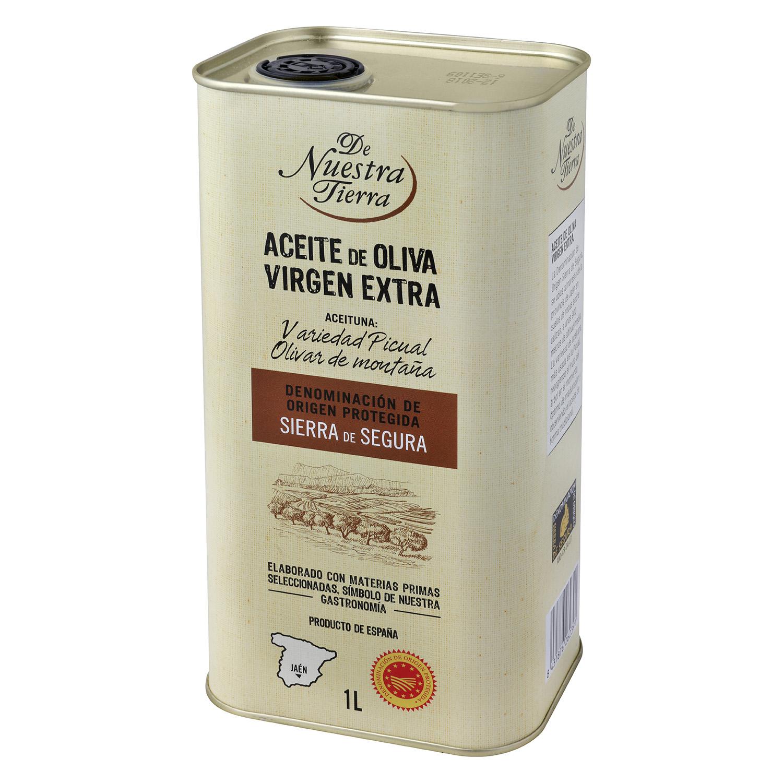 Aceite de oliva virgen extra De Nuestra Tierra D.O Sierra de Segura lata 1 l.