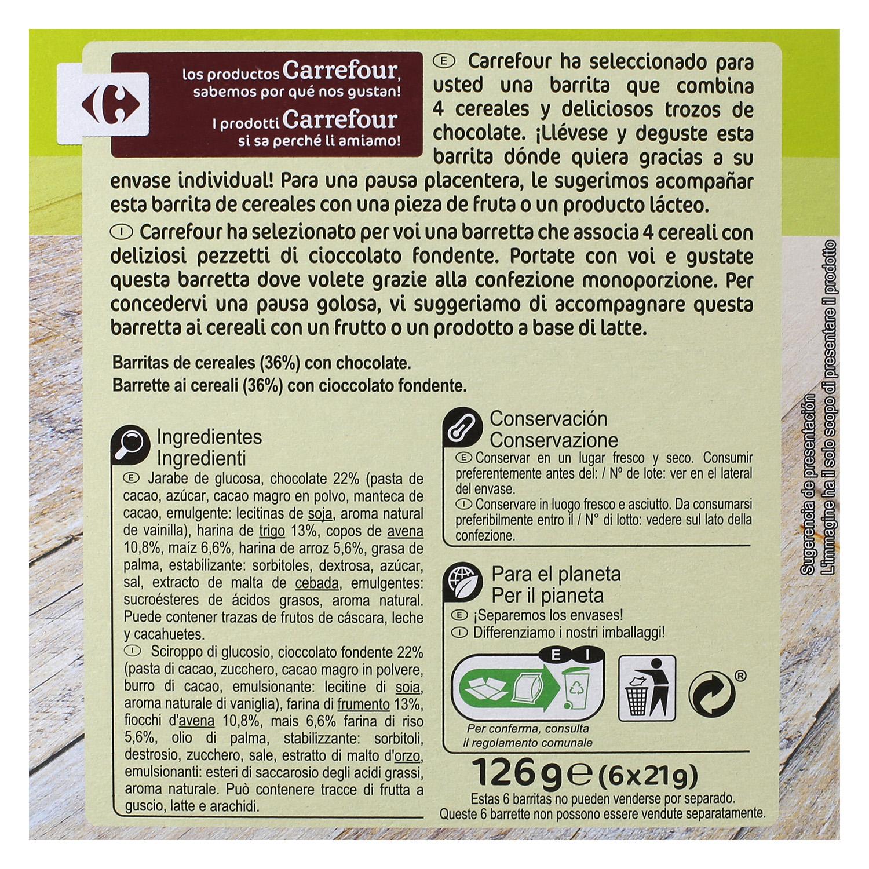 Barritas de cereales con chocolate Carrefour 6 unidades de 21 g. -