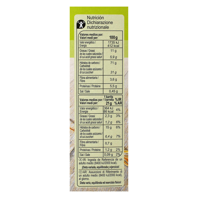 Barritas de cereales con chocolate Carrefour 6 unidades de 21 g. - 2