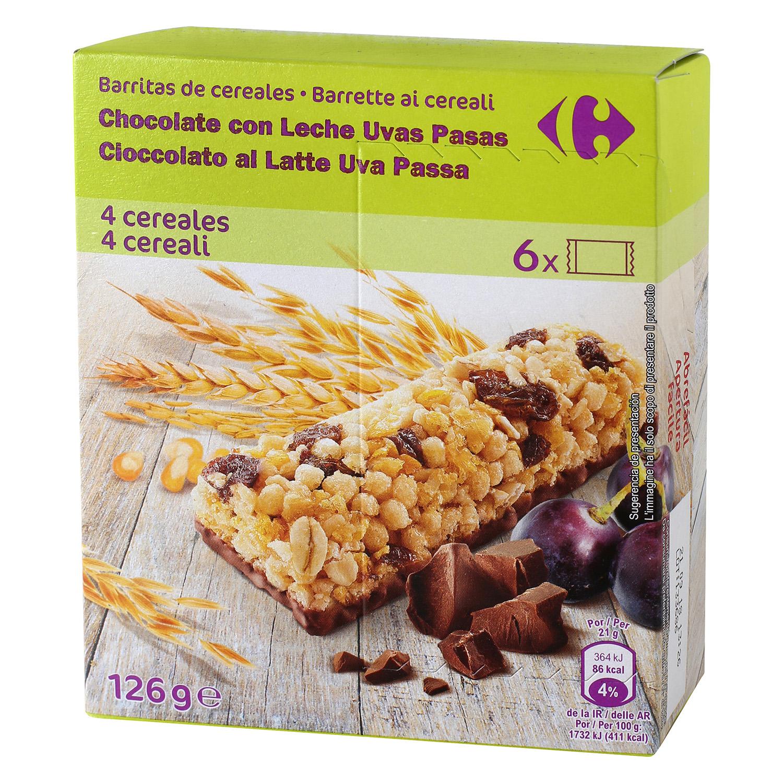 Barritas de cereales con chocolate, uvas y pasas Carrefour 6 unidades de 21 g.