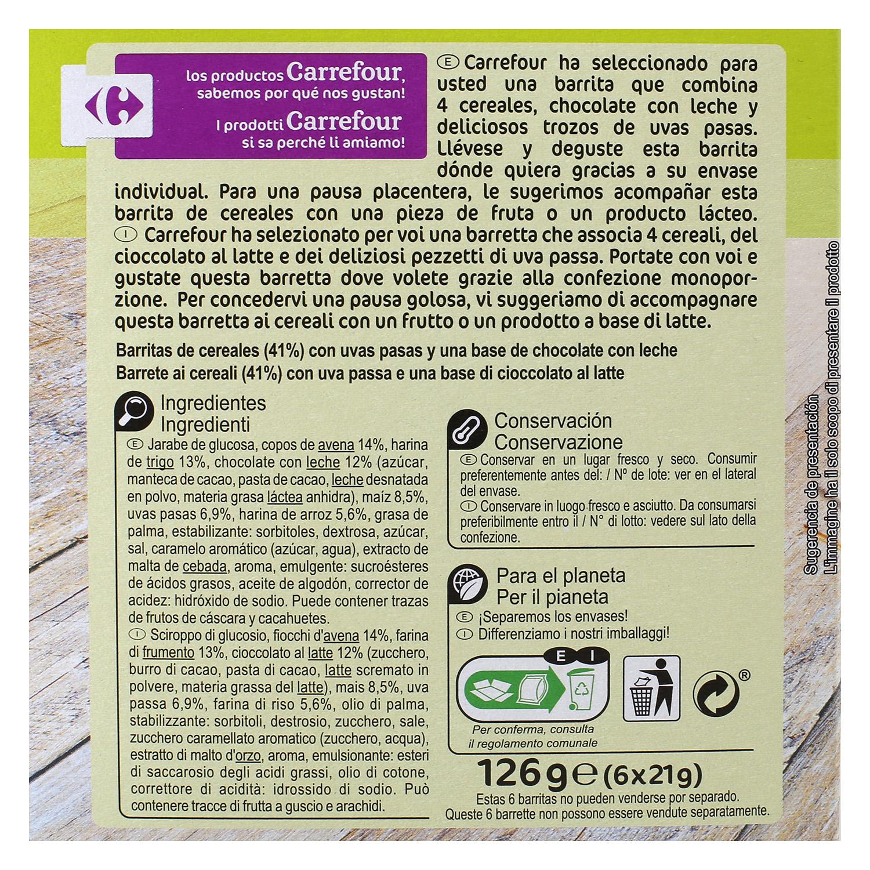 Barritas de cereales con chocolate, uvas y pasas Carrefour 6 unidades de 21 g. -