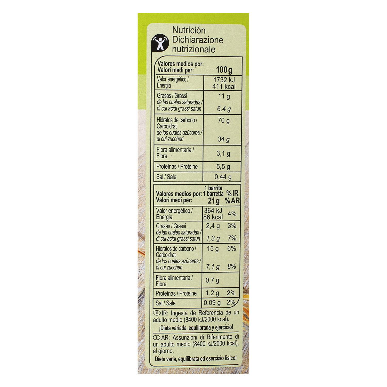 Barritas de cereales con chocolate, uvas y pasas Carrefour 6 unidades de 21 g. - 2