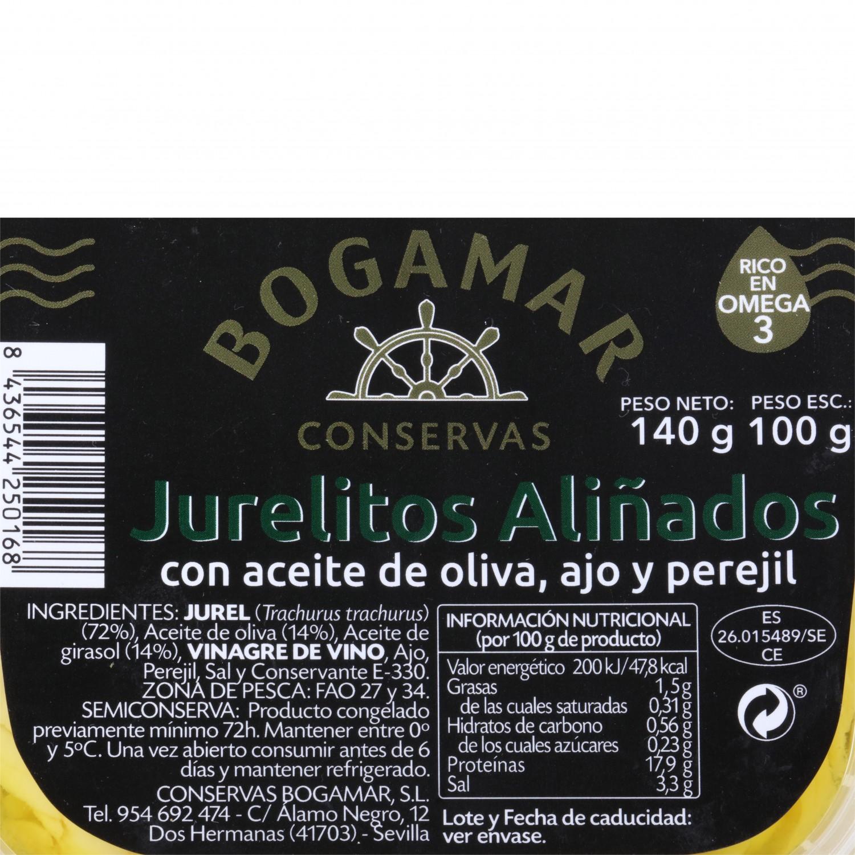 Jurelitos aliñados ajo y perejil, Conservas Bogamar 100 g - 3