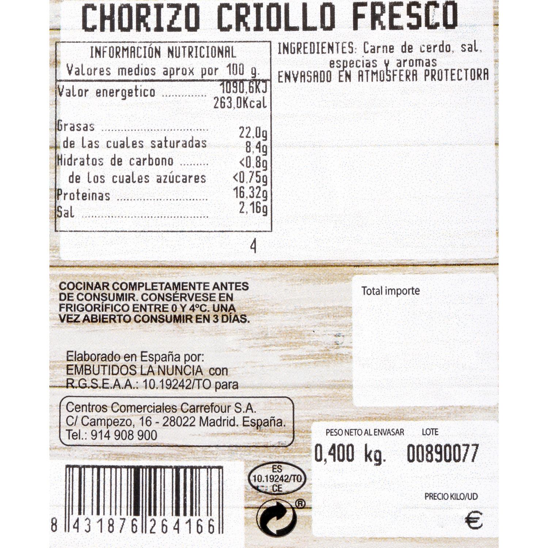 Chorizo Criollo Fresco Sin Aditivos Carrefour 400 g - 3