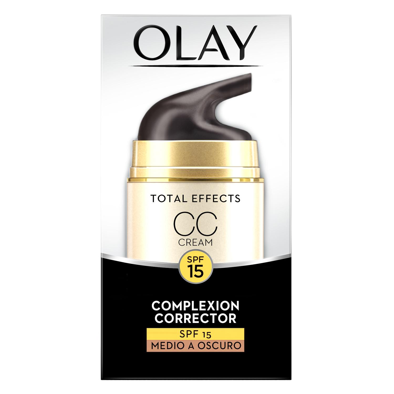 Crema CC correctora Total Effects SPF15 medio a oscuro Olay 50 ml.
