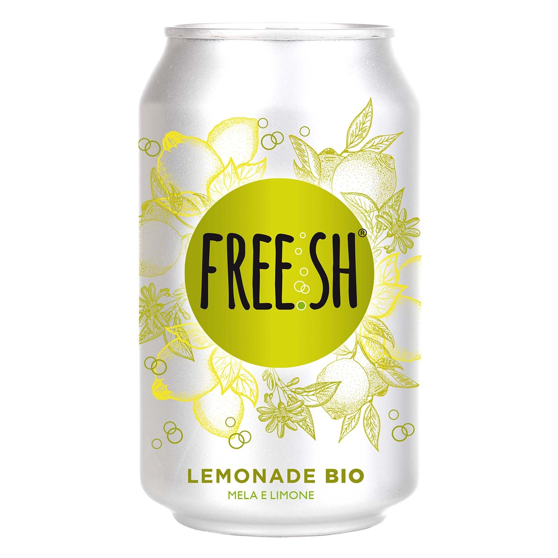 Refresco de limón ecológico Free.sh con gas lata 33 cl.