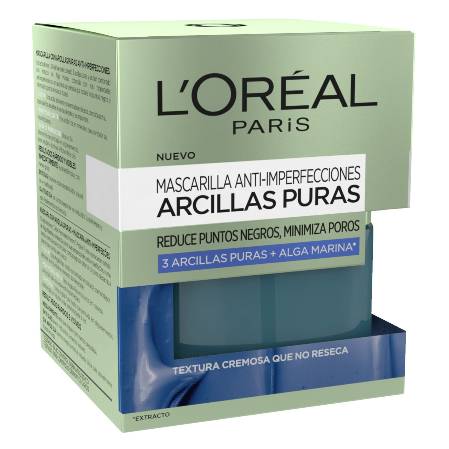 Mascarilla anti-imperfecciones Arcillas puras L'Oréal 50 ml.