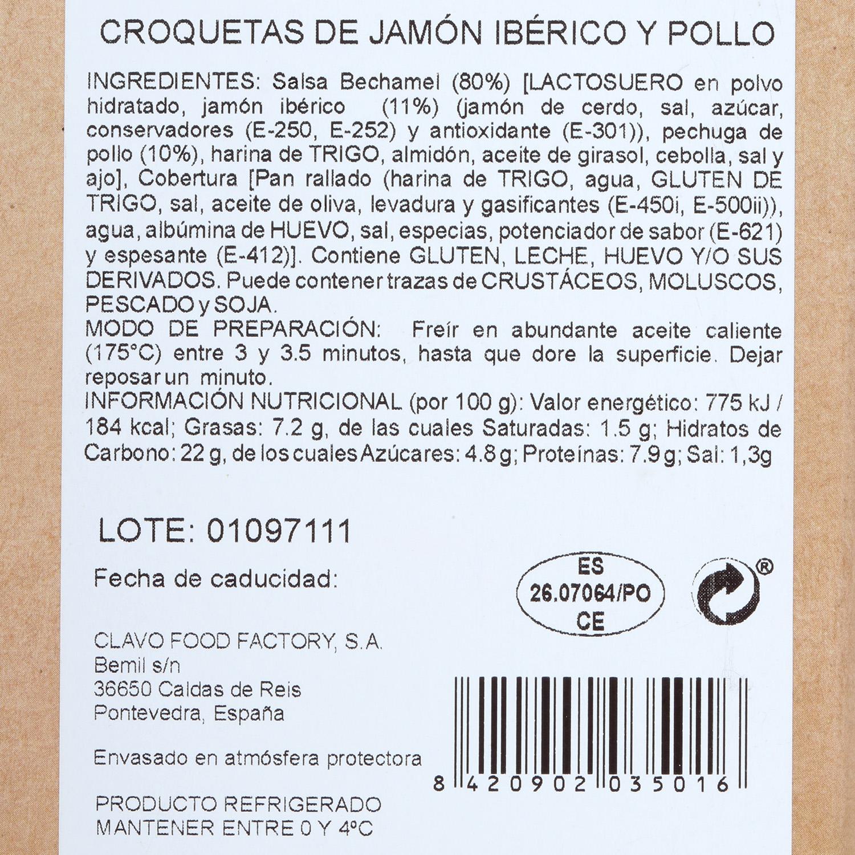 Croquetas de Jamón Ibérico y Pollo Gourmet Clavo Food (6 uds) 200 g - 2