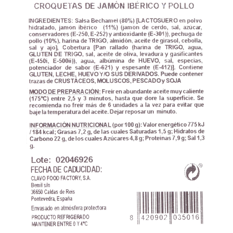Croquetas de Jamón Ibérico y Pollo Gourmet Clavo Food (6 uds) 200 g - 3
