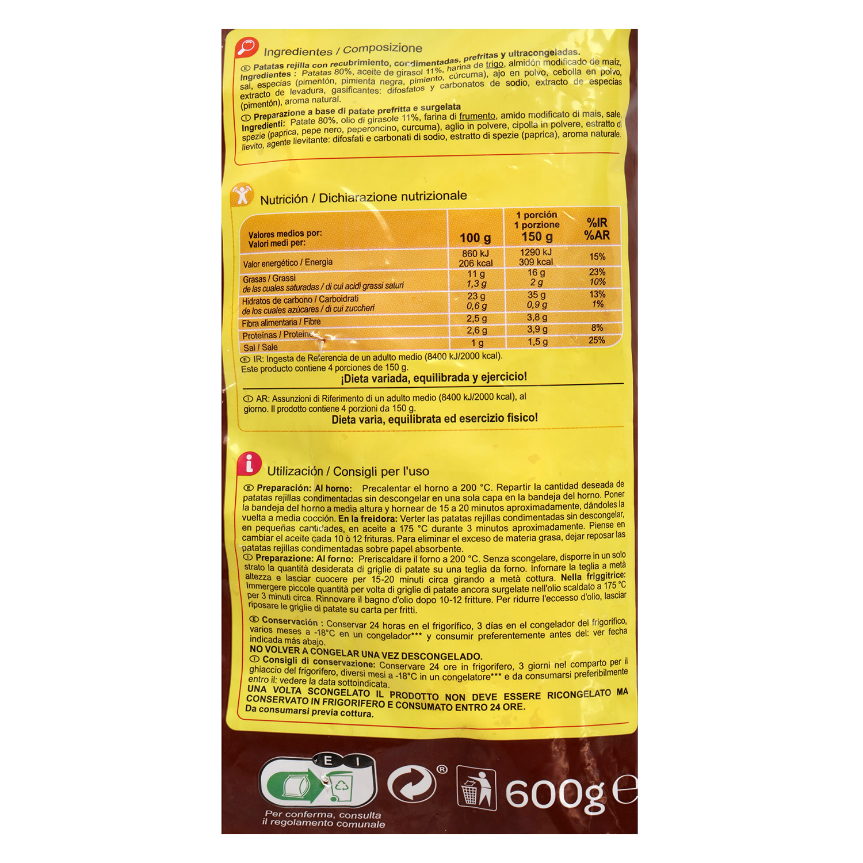 Patatas rejilla condimentadas Carrefour 600 g. -