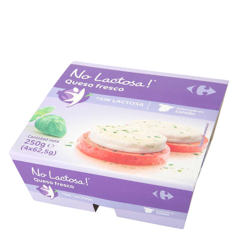 Queso fresco Carrefour sin lactosa pack de 4 uunidades de 62,5 g.