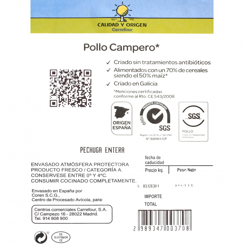 Pechuga de Pollo Campero Entera Calidad y Origen Carrefour 450 g aprox - 3