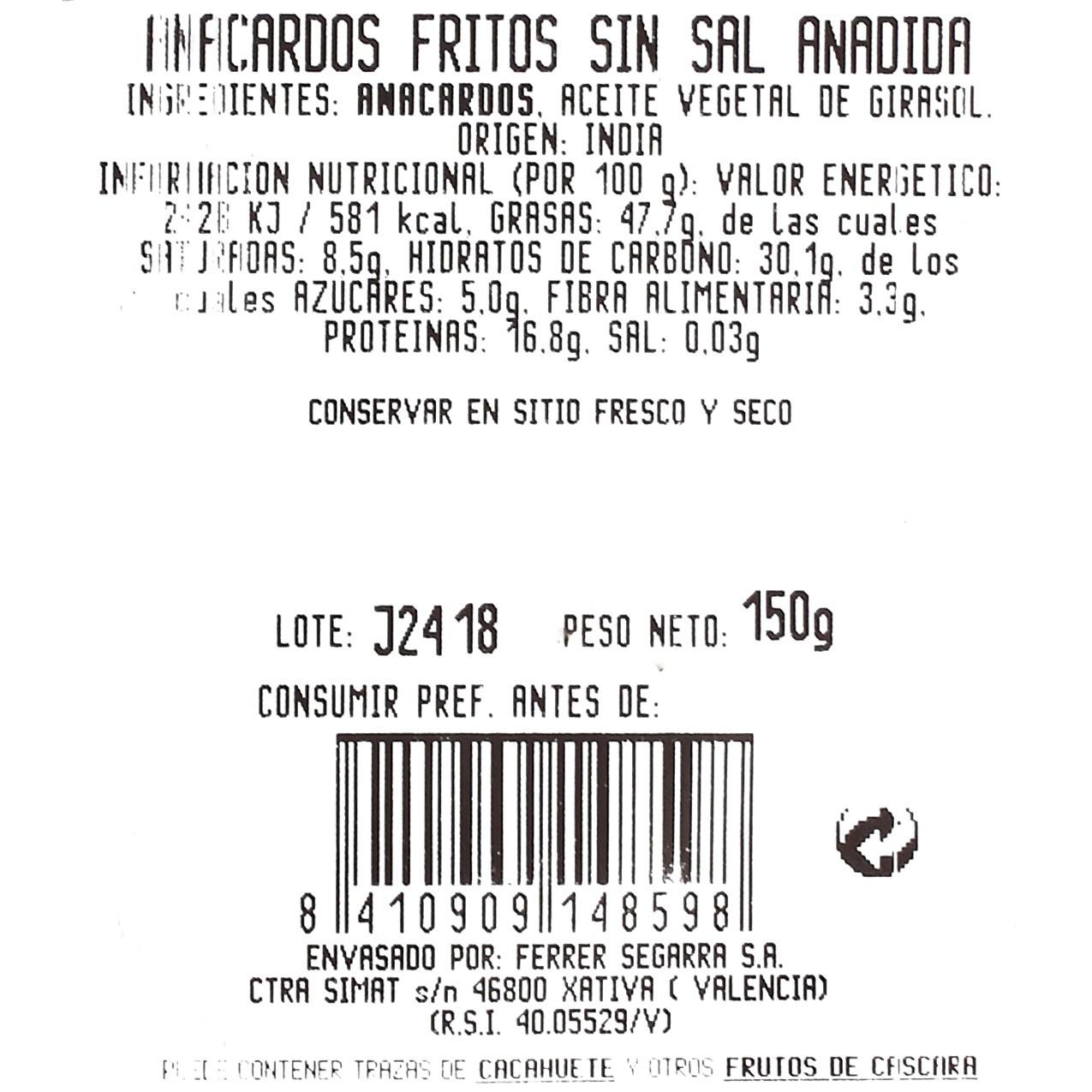 Anacardos fritos sin sal - 3