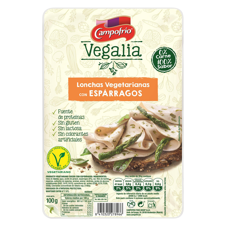 Lonchas vegetarianas con espárragos Campofrío vegalia sin gluten y sin lactosa 100 g.