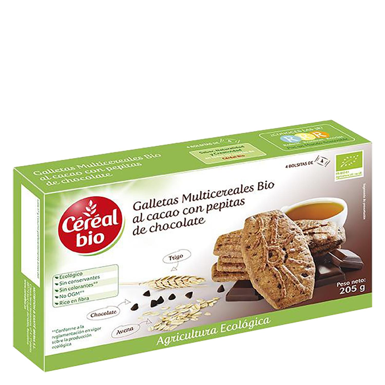 Galletas al cacao con pepitas de chocolate ecológicas Cereal Bio 205 g.