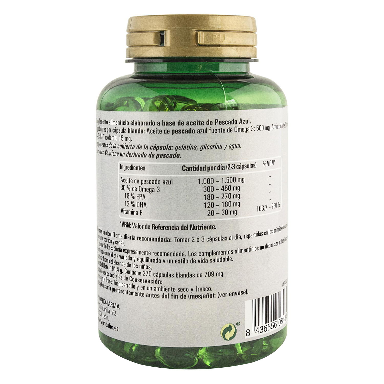Omega 3 rico en EPA y DHA Phytofarma 270 cápsulas. -