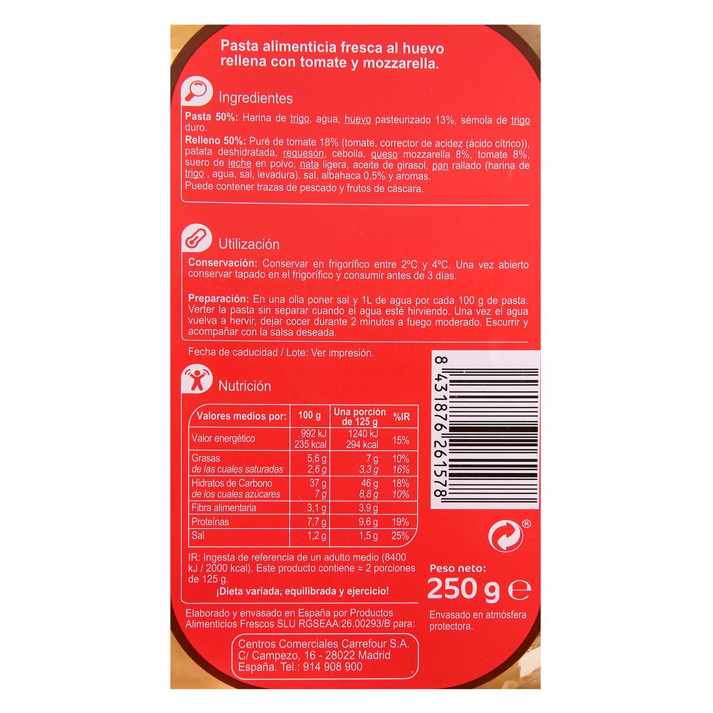 Ravioli de tomate y mozzarella Carrefour al huevo 250 g. -