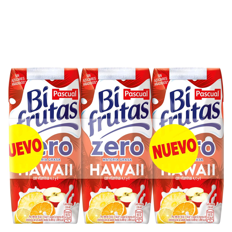 Zumo Bifrutas Hawaii zero pack de 3 briks de 330 ml.