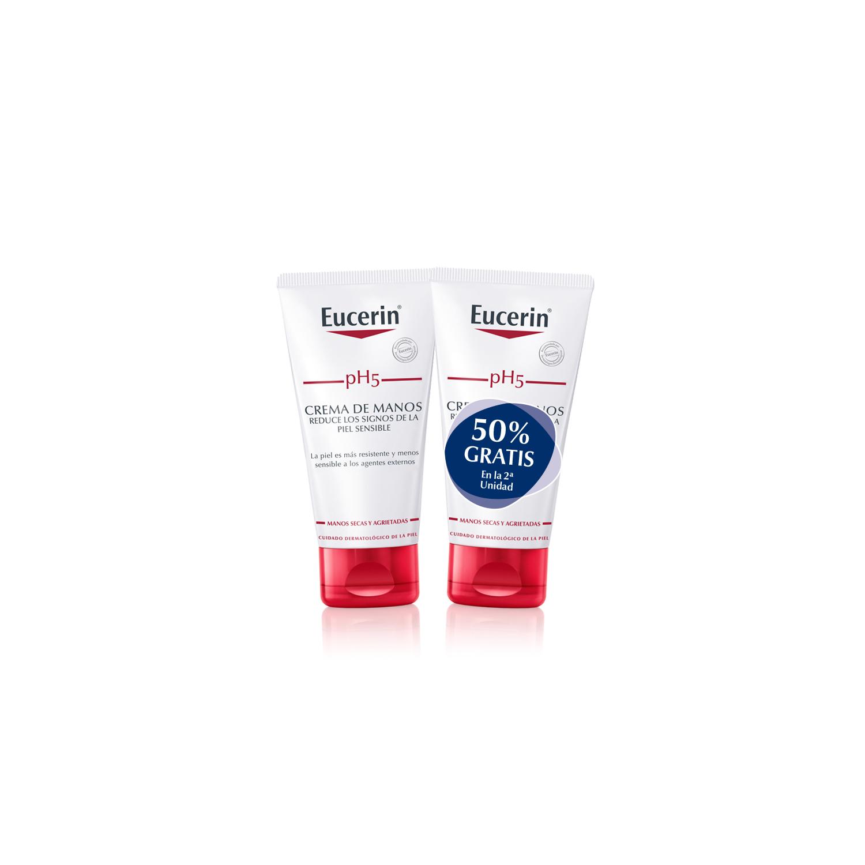 Crema de manos pH5 Eucerin pack de 2 unidades de 75 ml.