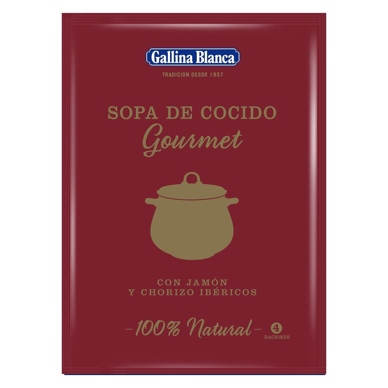 Sopa de cocido gourmet con jamón y chorizo ibéricos