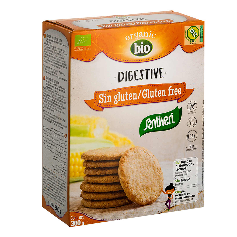 Galletas ecológicas Digestive Santiveri sin gluten sin lactosa 330 g.