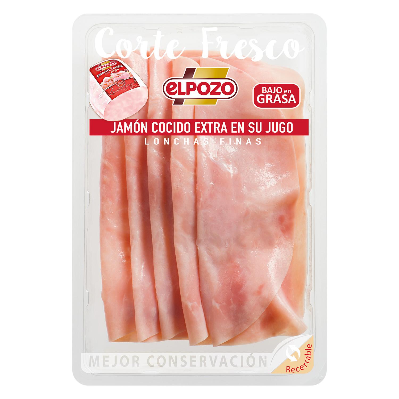Jamón cocido extra en su jugo El Pozo 150 g.