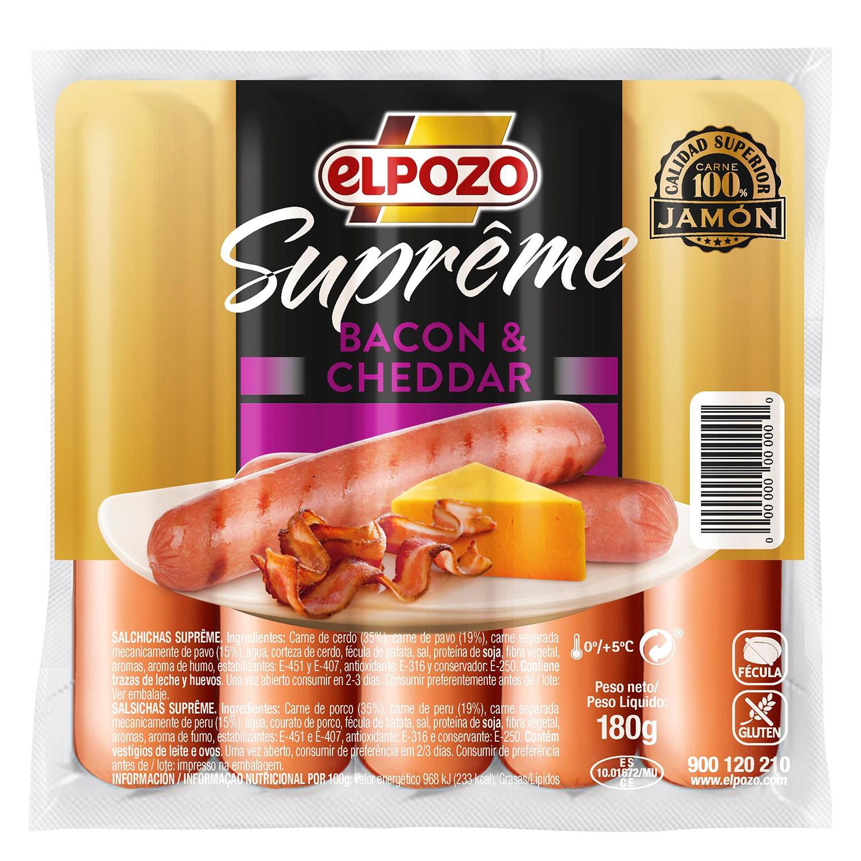 Salchichas bacon & cheddar Supreme El Pozo sin gluten 180 g.