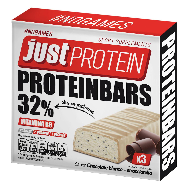 Barritas sabor chocolate blanco - stracciatella Just Protein pack de 3 barritas de 35 g.
